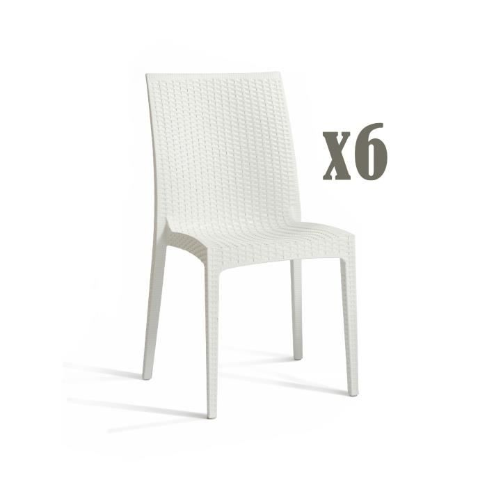 DCB GARDEN Lot de 6 chaises empilables en PVC Cagliari - Blanc