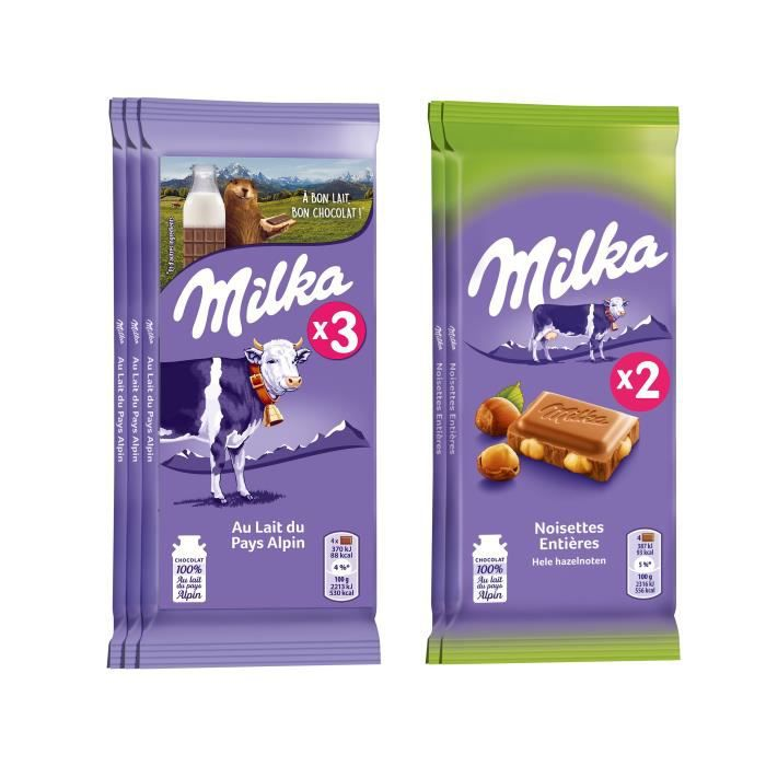 Lot de 3 Tablettes de chocolat Milka au lait 100g et de 2 Tablettes de chocolat au lait noisettes 100g