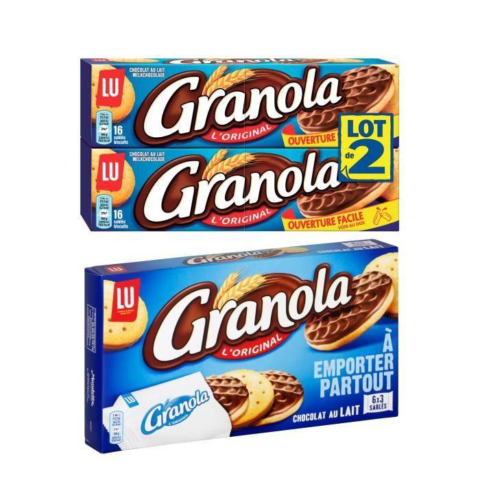 Lot de 2 paquets de biscuits Granola chocolat au lait et 1 paquet de Granola à emporter (6 pochons de 3 sablés)