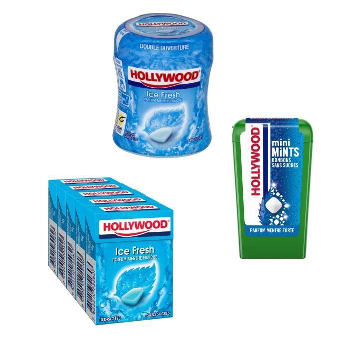 Lot de 1 étui de dragées de gum, 1 bottle et 1 boîte de bonbons sans sucre parfum menthe forte Hollywood
