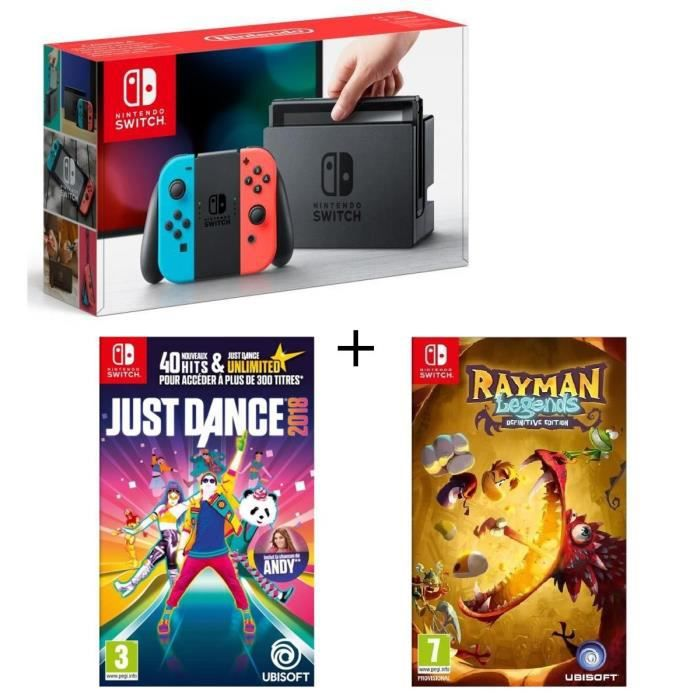 Console Nintendo Switch Néon + Rayman Legends Definitive Edition + Just Dance 2018