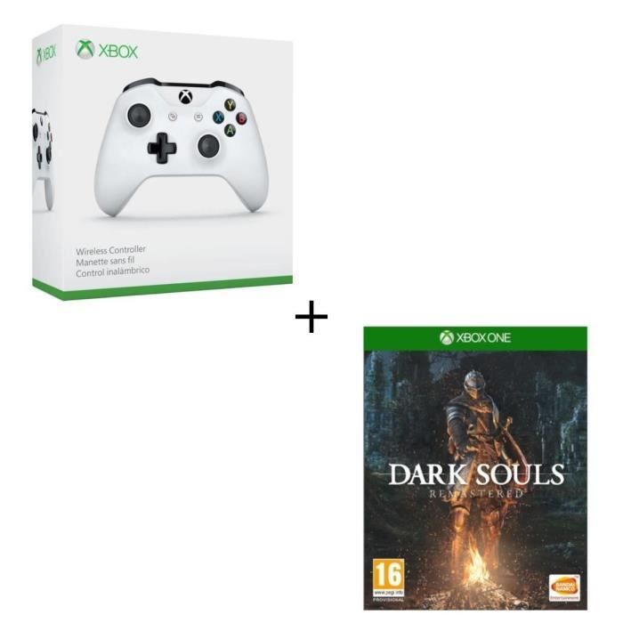 Manette sans fil Xbox One blanche compatible PC + Dark Souls Remastered Jeu Xbox One