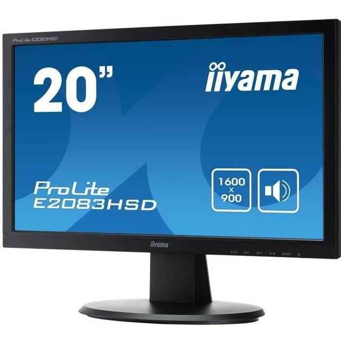 Ecran PC - IIYAMA ProLite E2083HSD-B1 - 20- - Dalle TN - 5ms - VGA/DVI-D