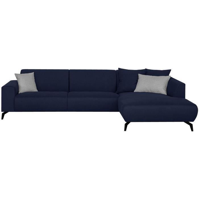 Canapé d'angle droit - Pieds métal - Tissu Bleu - L 290 x P 93/167 x H 74 cm - BUBBLE