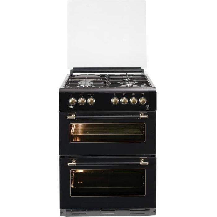 BEKO FDF63110DBR - Cuisinière table mixte gaz / électrique - 4 zones - Double four électrique - 49 L - 38 L - A - L60 x H 85 cm