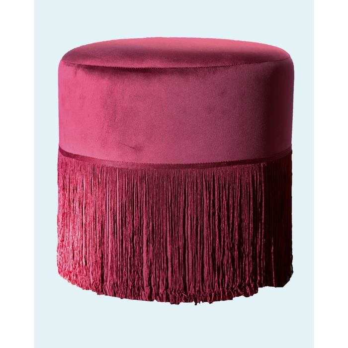 Pouf à franges Edward - 37 x 37 cm - Rouge bordeaux