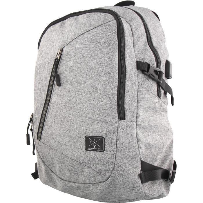 TNB Sac a dos - Ordinateur Portable entre 14 et 16 pouces - multiples pochettes + port usb exterieur - gris chiné