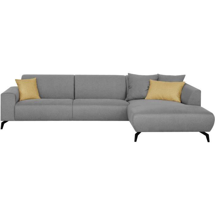 Canapé d'angle droit - Pieds métal - Tissu Gris - L 290 x P 93/167 x H 74 cm - BUBBLE