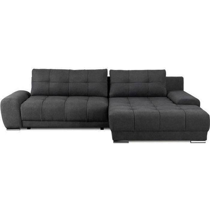 Canapé d'angle droit 4 places convertible + coffre et coussin déco - Tissu gris anthracite - L281 x P 189 cm - WAVE