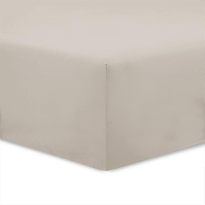 VISION Drap housse 100% coton - 160x200 cm - Mastic