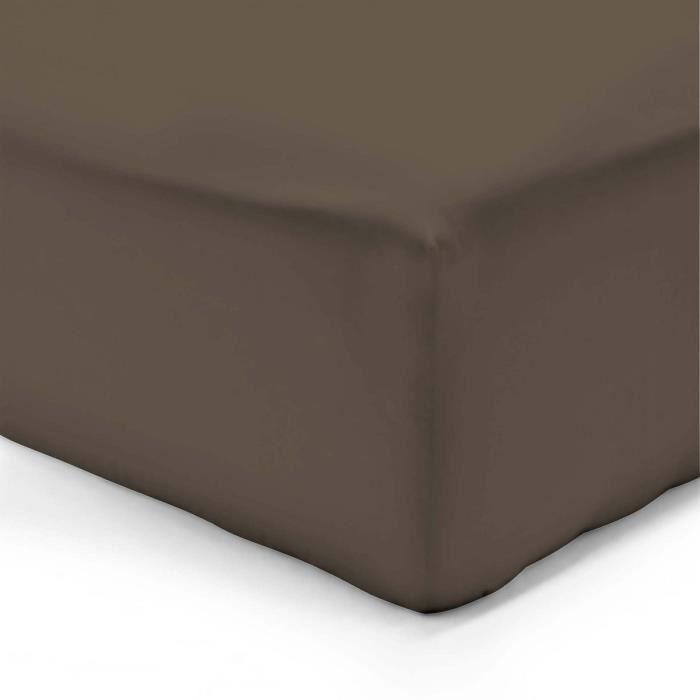 VISION Drap housse 200x200 + 25 cm chocolat