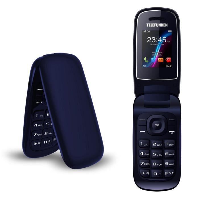 TELEFUNKEN Téléphone clapet TM 18.1 Classy Bleu foncé Carton