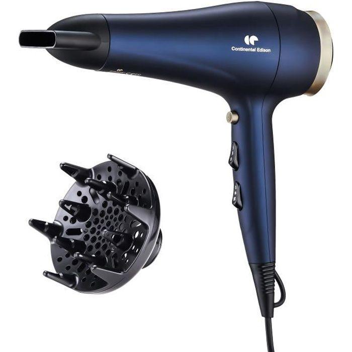 CONTINENTAL EDISON Sèche-Cheveux avec diffuseur - SC2400DIF - 2400W - Fonction Ionique - 3 Températures / 2 Vitesses - Bleu & Or