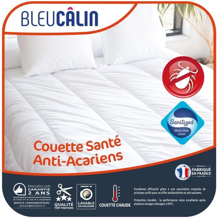 BLEU CALIN Couette chaude Santé Anti-acariens 200x200 cm blanc