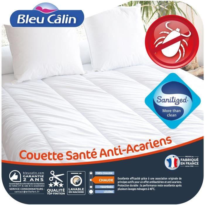 BLEU CALIN Couette chaude Santé Anti-acariens 240x260 cm blanc