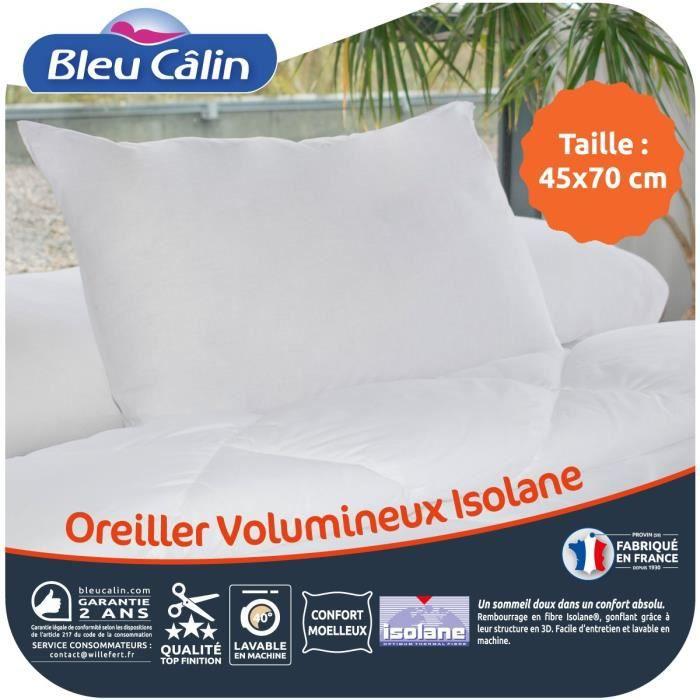 BLEU CALIN Oreiller VOLUMINEUX 100% coton - 45 x 70 cm