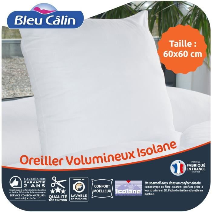 BLEU CALIN Oreiller VOLUMINEUX 100% coton - 60x60 cm