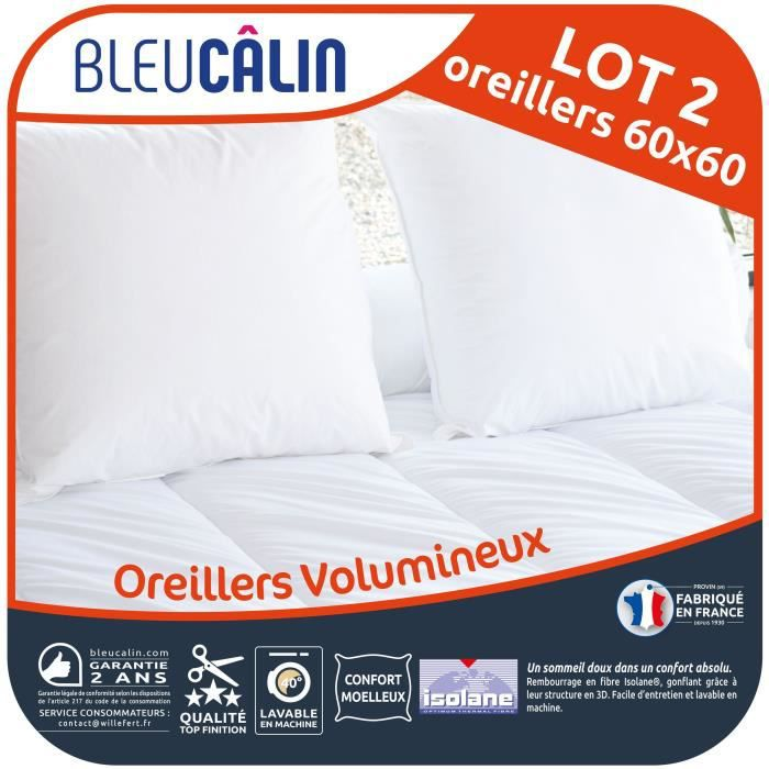 BLEU CALIN Lot de 2 oreillers Volumineux 60x60 cm blanc