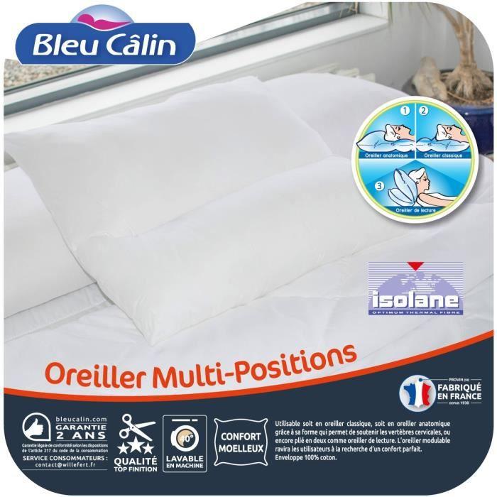 BLEU CALIN Oreiller Multi-positions 65x65 cm blanc