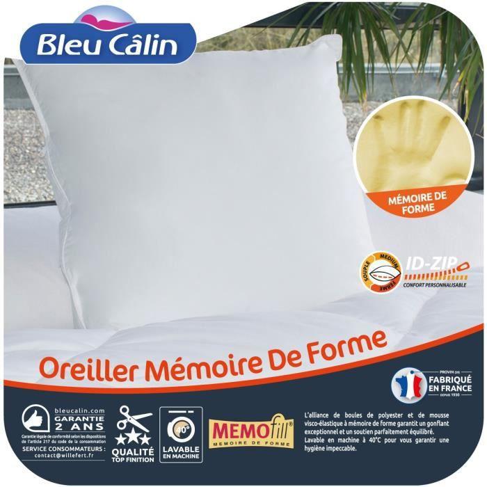 BLEU CALIN Oreiller à mémoire de forme Mémofill 60x60 cm blanc