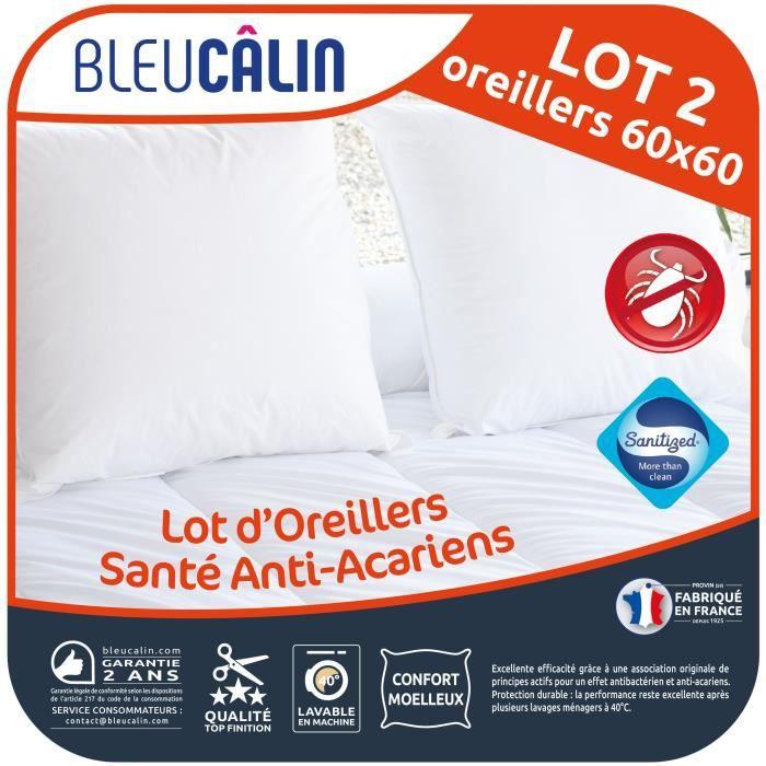 BLEU CALIN Lot de 2 oreillers Santé Anti-acariens 60x60 cm blanc
