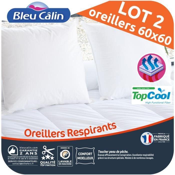 BLEU CALIN Lot de 2 oreillers Respirant TOPCOOL 60x60cm blanc