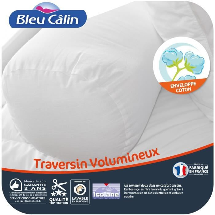 BLEU CALIN Traversin volumineux Isolane 160 cm blanc