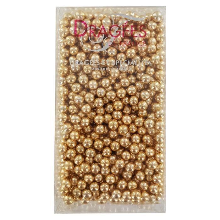 DRAGEES DE FRANCE Perles de sucre - Dorées N° 6 - 250 g