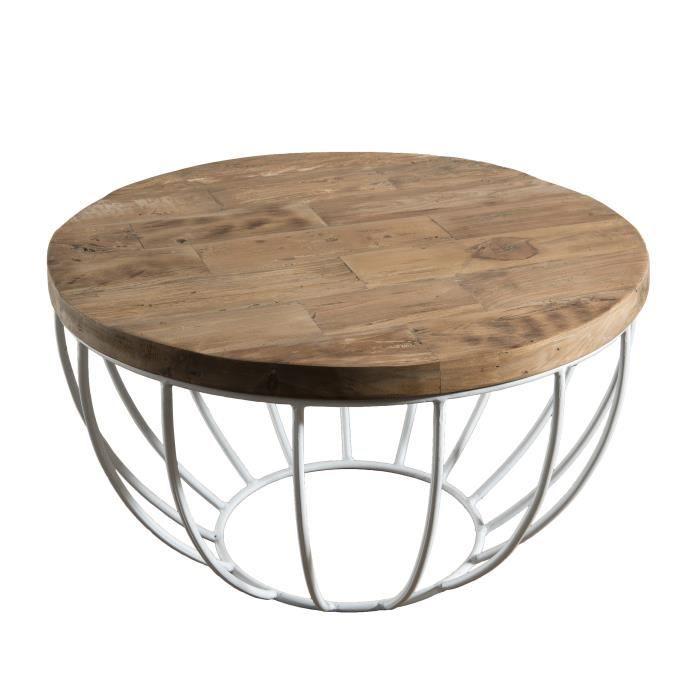 Table basse ronde style industriel en bois teck + pieds en métal et coque blanche - Ø 60 cm