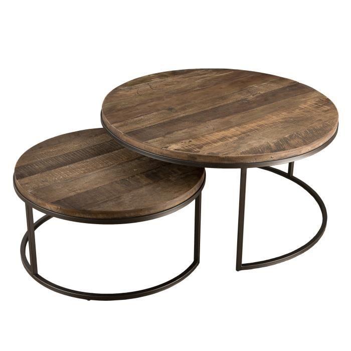 Set de 2 tables basses Gigogne - Rond - Teck recyclé acacia mahogany et métal - Marron - Industriel - L 80 x P 80 x H 40,5 cm