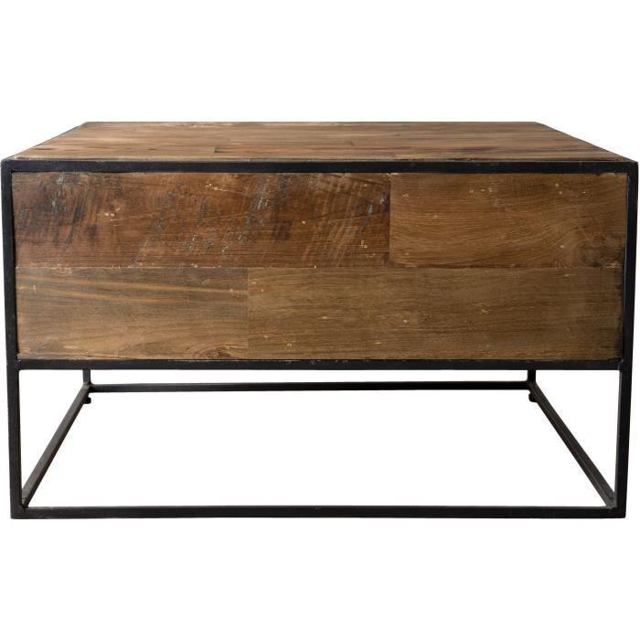 Table d'appoint carrée - Teck recyclé et métal - L 60 x P 60 x H 36 cm
