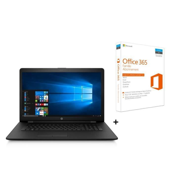 Hp pc portable 17.3 17bs061nf 4 go de ram windows 10 intel celeron n3060 intel hd 400 disque dur 500 go office 365 fam