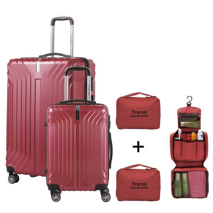 TRAVEL WORLD - Set de 2 valises cabine - Rigides et Grand format - 8 roues - 50-70 cm + Organisateurs de valise - Rouge foncé