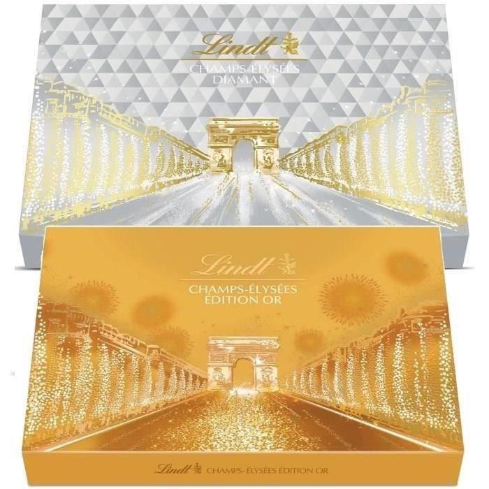 LINDT Lot de 2 boites cadeaux Champs-Elysées Edition Or 468g et Edition Diamant 468g
