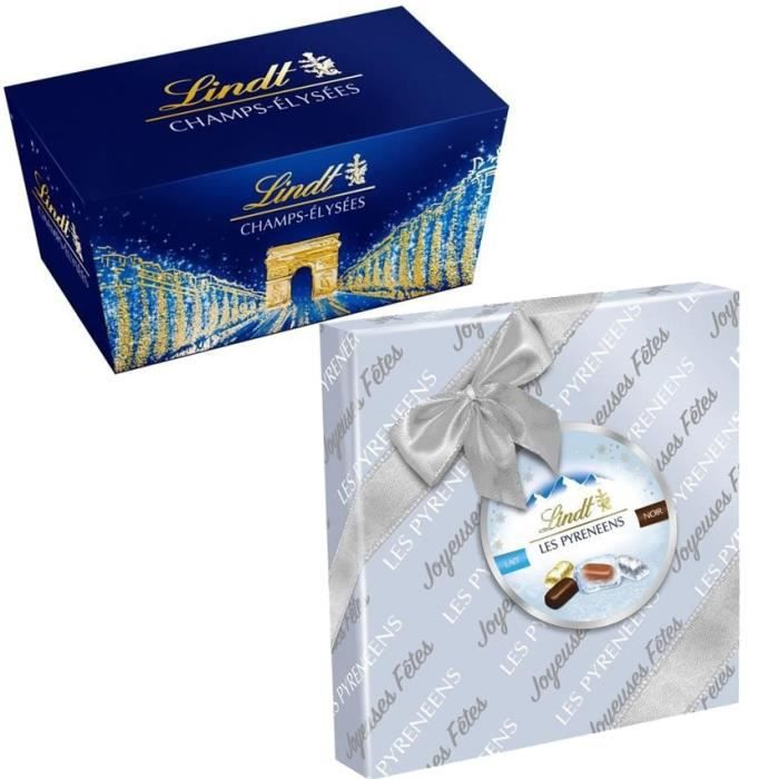 LINDT Lot de 2 boites cadeaux Champs-Elysées Assorti 219g et Pyrénéens Assorti 204g