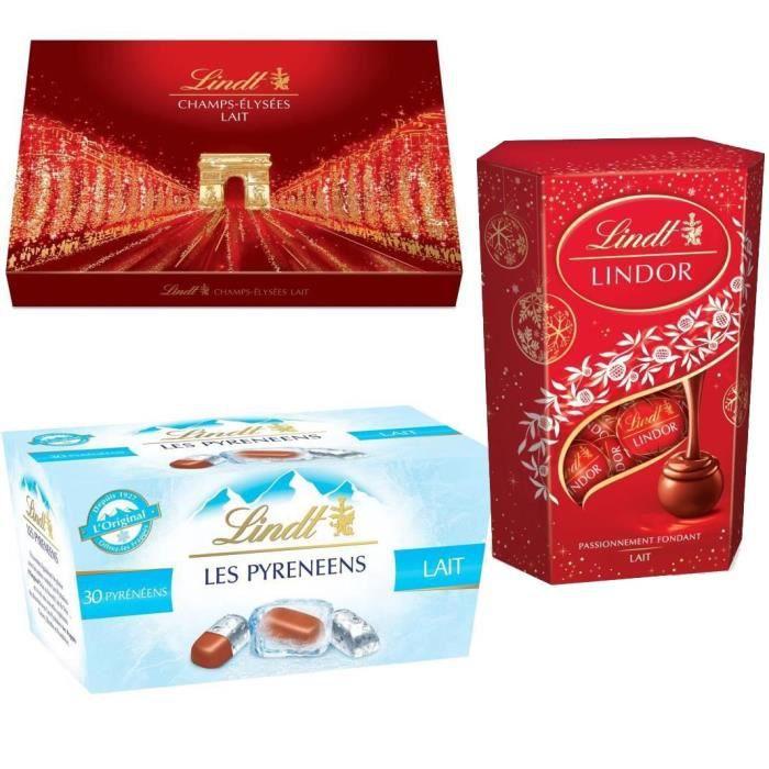 LINDT Lot de 3 boites cadeaux : Champs-Elysées Lait 482g, Lindor Cornet Lait 200g et Pyrénéens L'Original Lait 219g