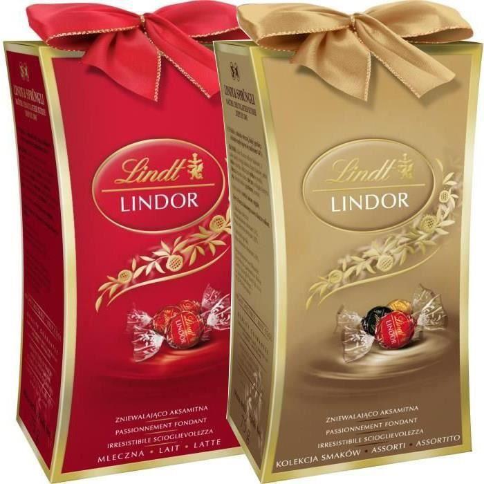 LINDT Lot de 2 boîtes Minis Cadeaux Lindor Lait 75g et Assorti 75g