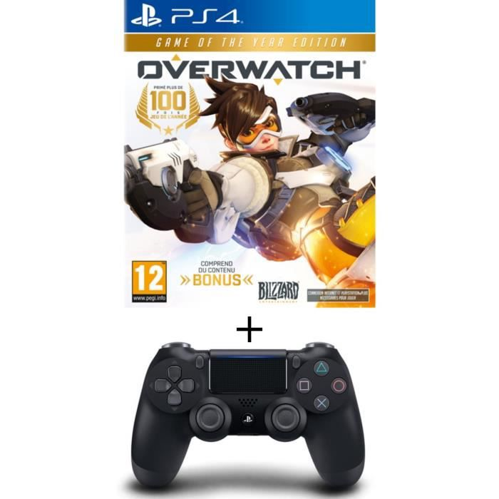 Pack Overwatch Goty Edition Jeu PS4 + Manette PS4 DualShock 4 Noire V2