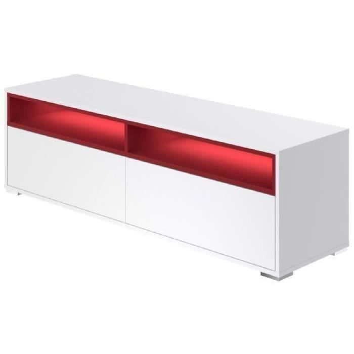 Rio meuble tv led contemporain mélaminé blanc mat l 150 cm