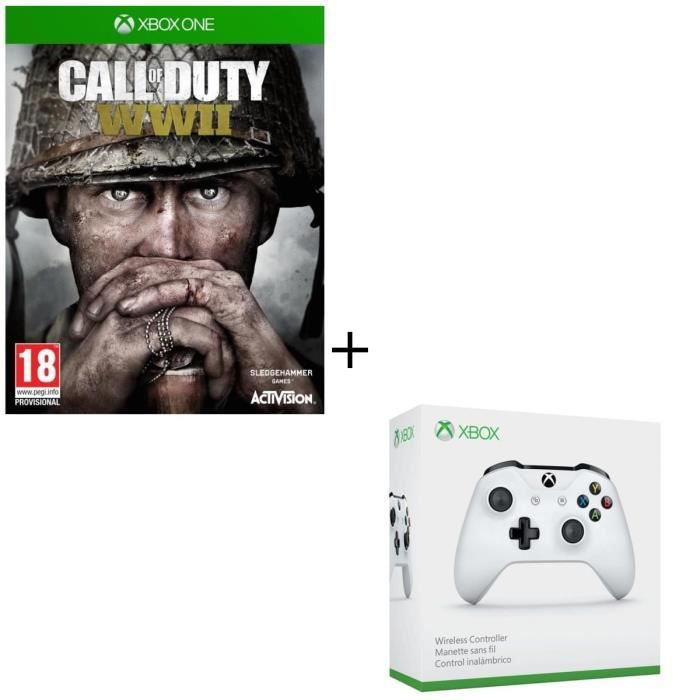 Pack Xbox One : Call of Duty World War II + Manette sans fil Xbox One blanche compatible PC