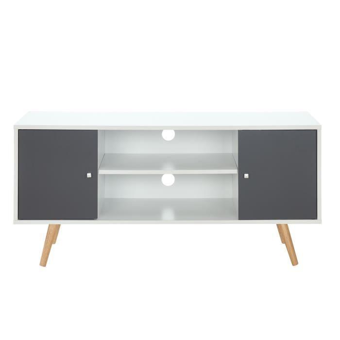 Meuble TV scandinave pieds en bois gris foncé et blanc - L 116 cm - BABETTE