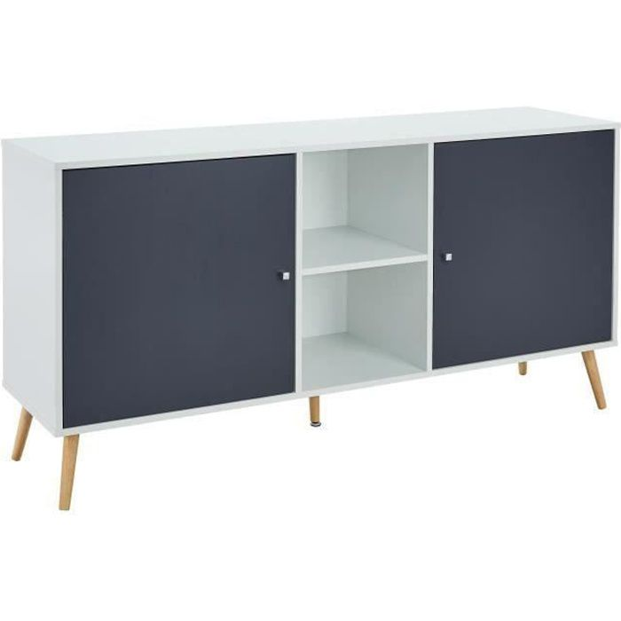 BABETTE Buffet bas scandinave décor blanc mat et gris foncé - L 150 cm