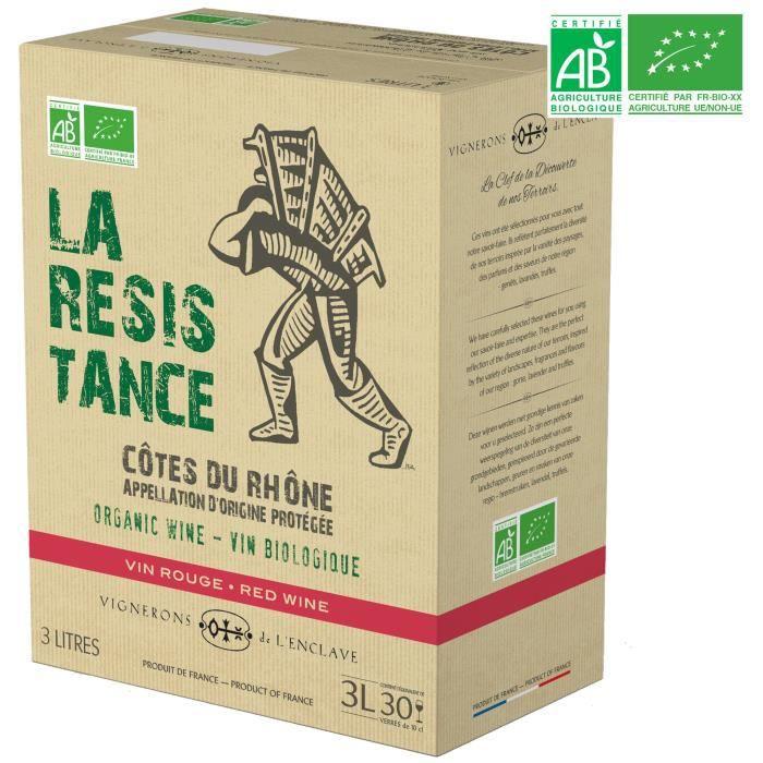 BIB 3L La Résistance Vignerons de l'Enclave Côtes du Rhône - Vin rouge de la Vallée du Rhône - Bio