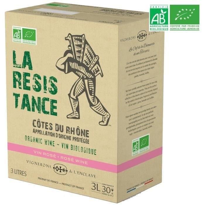 BIB 3L La Résistance Vignerons de l'Enclave Côtes du Rhône - Vin rosé de la Vallée du Rhône - Bio