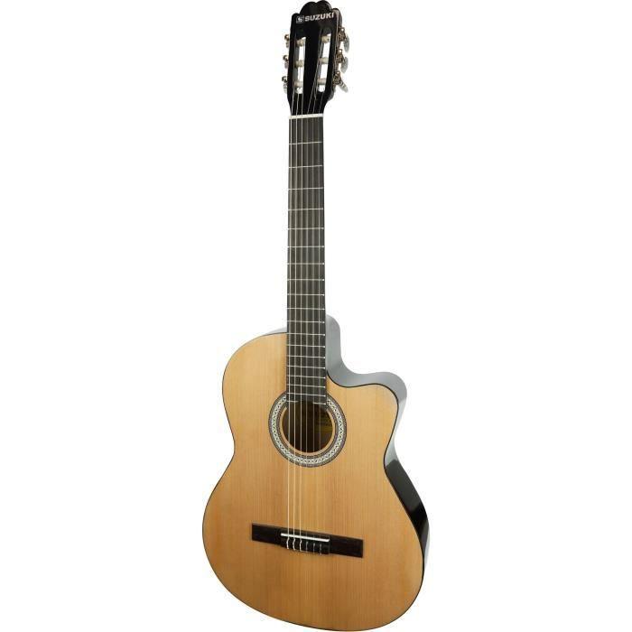 SUZUKI Guitare classique électro-acoustique couleur naturelle avec housse de protection