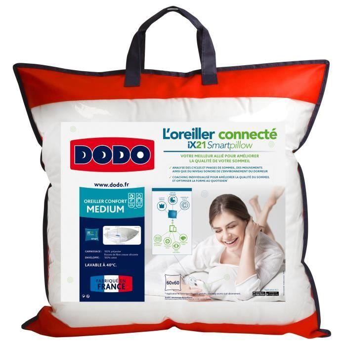 DODO Oreiller Connecté SmartPillow - 100% coton - 60x60 cm