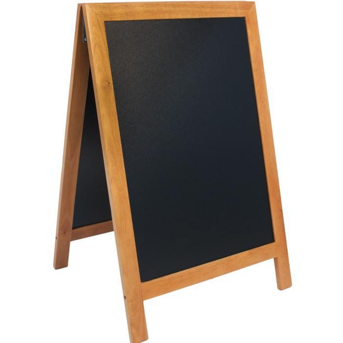 Panneau ardoise trottoir Securit® - Cadre en bois marron - 85x55,5x54,5cm