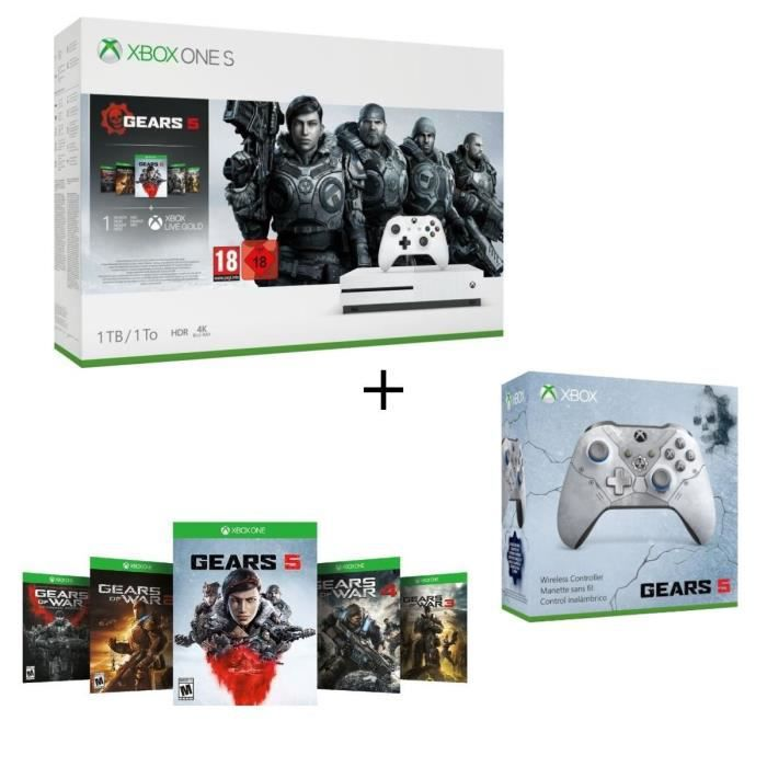 Xbox One S 1 To + 5 jeux Gears of War + 1 mois d'essai au Xbox Live Gold et Game Pass + Manette Xbox Spéciale Gears 5