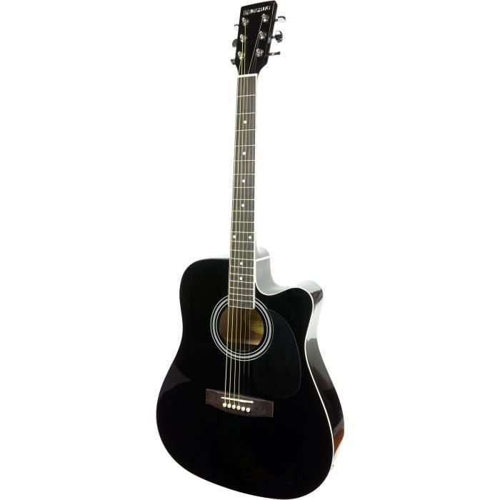 SUZUKI Guitare Folk électro-acoustique noire avec housse de protection
