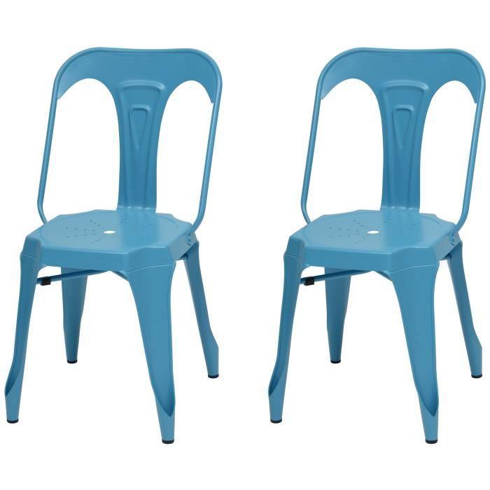 KRAFT Zoeli Lot de 2 chaises de salle à manger - Métal bleu satiné - Style industriel - L 44 x P 53 cm